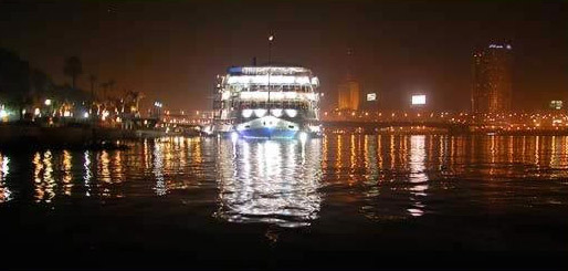 A Nile Dinner Boat leaving for an evening's cruise