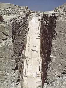 Entrance Corridor Trench to the Pyramid of Djedefre at Abu Rawash in Egypt