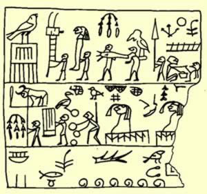 From Saqqara on Wood, Possibly recording a Ceremony of Human Sacrifice
