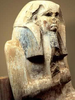 The statue of Djoser originally discovered in the Serdab and now in the Egyptian Antiquities Museum in Cairo