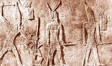An Egyptian king smiting the enemiy of Egypt
