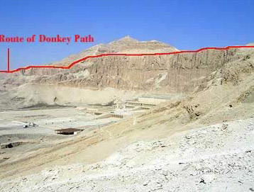 Route of the Donkey Path along the upper part of the West Bank at Luxor, Egypt