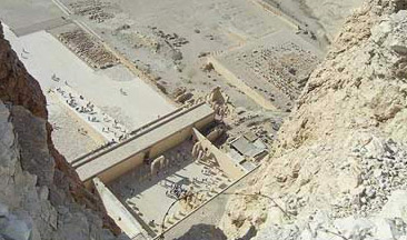 Looking directly down on the Temple of Hatshepsut on the West Bank at Luxor
