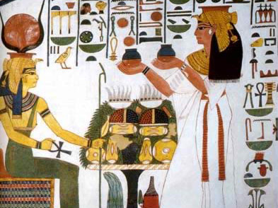 Nefertari provides wine to Hathor, among other goddesses in her tomb in the Valley of the Queens