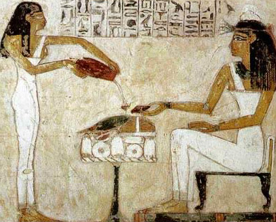 A servant girl pours beer for Bet, the mother of Rekhmire in a depiction of his tomb at Thebes