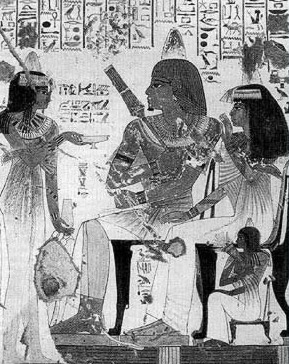 A servant presents wine to the official Nebamun and his wife, Ipuky from the 18th Dynasty reign of Amenhotep III or IV