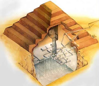 Cut-away drawing of the Step Pyramid of Djoser at Saqqara