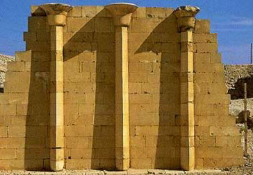 Fluted columns in the courtyard of the Northern Pavilion in the Step Pyramid Complex of Djoser
