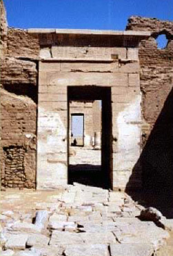 A closer view of the monumental entrance to the Temple at Dush