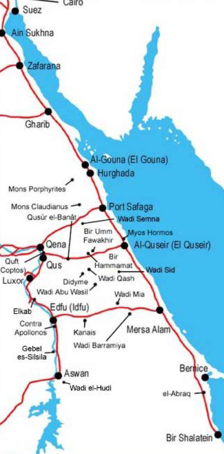 Map of the Eastern Desert and Red Sea Coast