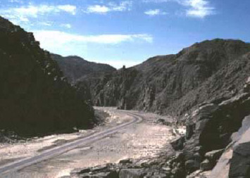 The road leading into Wadi Hammamat