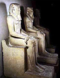 Limestone statues of Sesostris I and his queen