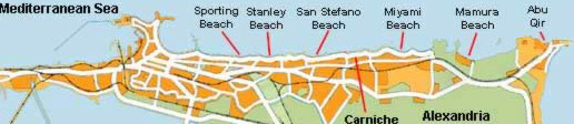 Map of the Alexandria Beaches