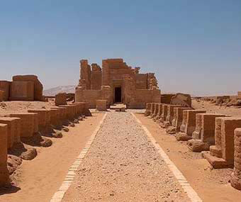 A view of the Temple of Deir el-Hagar in the Dakhla Oasis in Egypt
