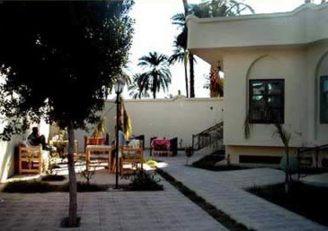 The garden area of the El Nakhil Hotel on the West Bank at Luxor