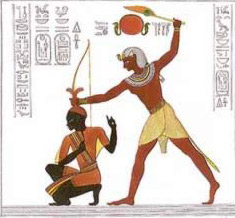 Artists Illustration of a scene in which Ramesses II strikes a Nubian chief