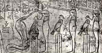 The Spitting Cobra and the six gods fronted by ba-birds in the upper register of section B