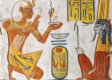 Ramesses VI offers an image of Ma'at to Amun-Re in his tomb at Thebes
