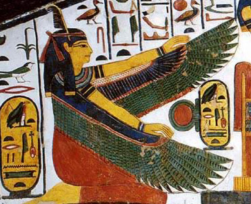 The goddess Ma'at spreads her protective wings in the tomb of Nefertari in the Valley of the Queens on the West Bank at ancient Thebes