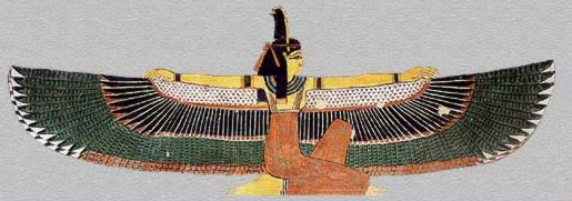 Ma'at, kneeling and with wings spread. The goddess personifying truth, order and cosmic balance