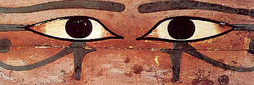 Painted Eyes from the side of a rectangular coffin.