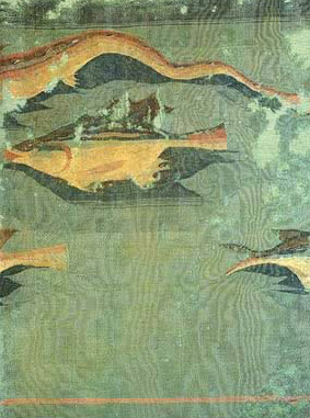 Fabric with fish on wool from Antinoe, and dating to the 2nd or 3rd century AD
