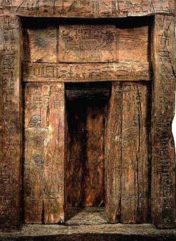 Rare Wooden False Door of Ika, 5th Dynasty