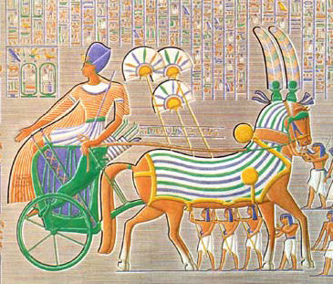 An artists copy of a scene at Medinet Habu showing Ramesses III in his war chariot and behind his horse, fan bearers