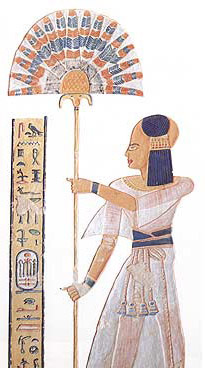 Fan Bearer to the right of the King and Sem-priest are the two titles of Khaemwaset, one of the sons of Ramesses III