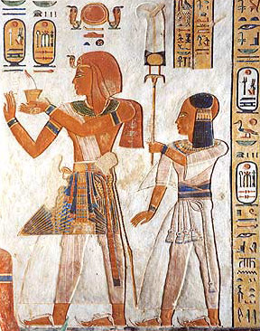 Another view of Khaemwaset, a son of Ramesses III, holding a khu fan