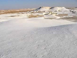 The Snowy white desert near Farafra