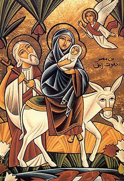 A modern Icon of the Flight of the Holy Family