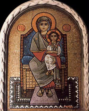Twentieth Century Mosaic of the Virgin and Christ by Isaac Fanous in the Cathedral of St. Mark in Alexandria