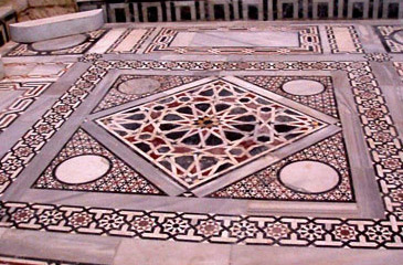 The colorful floor of the mosque inside the main tower