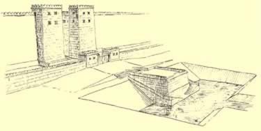 Perspective of the landing quay in front of the eastern gateway at Medinet Habu