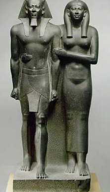 A statue of Menkaure and his wife, probably Khamerernebty II, shown very