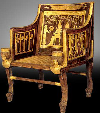 A stuccoed Wood, Gold Leaf with plant fiber chair from the tomb of Sitamun