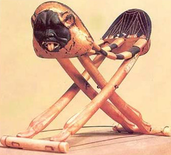 A headrest from the Tomb of Tutankhamun, unusual in that it folds