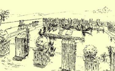 A perspective of a funerary garden after its representation in a Mumphite tomb