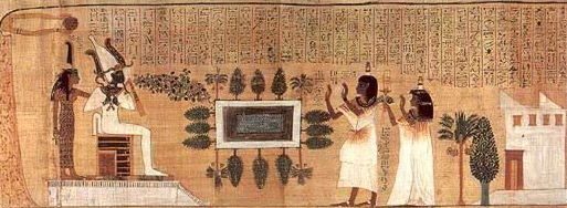Scene from the Book of the Dead papyrus of Nakht showing him and his wife approaching Osiris and Ma'at in their garden