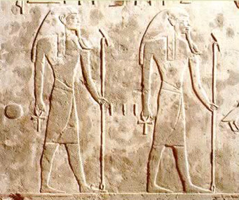 From the tomb of Horemheb, two of nine gods shown in the Book of Gates, second hour, lower register