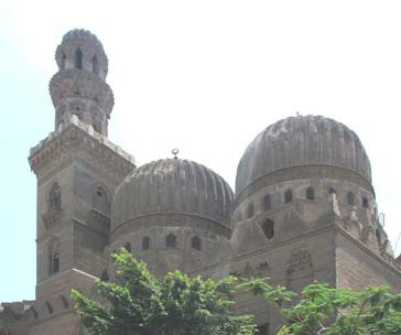 A general view of the minaret and the two domes of the Khangah/Madrasa of Amir Sanjar al Gawly