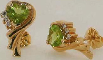 Earings with center stones of  Peridot (Not in the Museum collection)