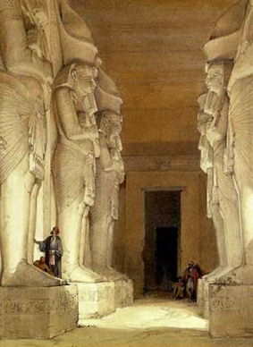 An Early David Roberts painting of the Pillared Hall within Gerf Hussein, showing the Osiris Style statues of Ramesses II