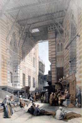 David Roberts drawing of the Silk market between the two buildings