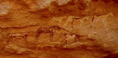 The central group of rock art paintings in Shaw's Cave
