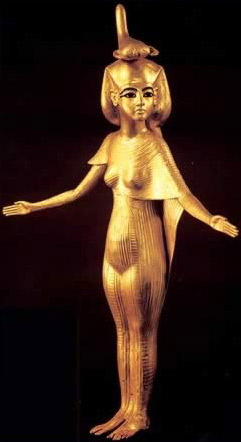 Gilded Wood Statue of Goddess Selkis