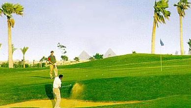 Golfing near the Pyramids at Dreamland Resort