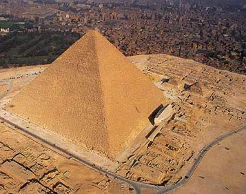 The Pyramids of Giza with the city at its feet