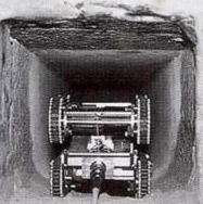 UPUAUT 2 entering a shaft in the Queen's chamber in the Great Pyramid of Khufu